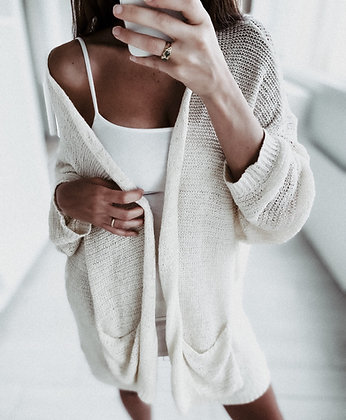 Minimal White Knit Cardigan