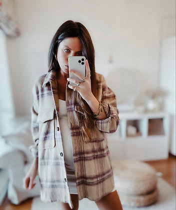 Beige Lilac Check Jacket