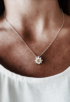 Golden Lotus 925 Sterling Silver Necklace