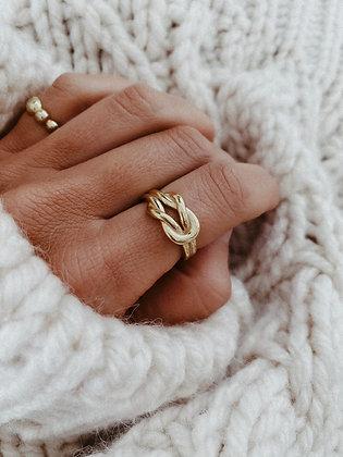 Forever 925 Golden Silver Ring