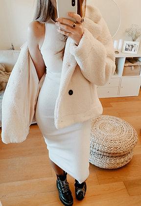 White Knit Maxi Dress