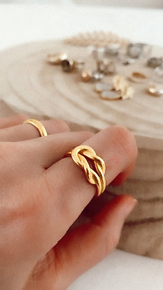 Forever 925 Golden Silver Ring