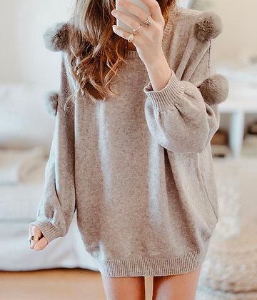 Pompom Light Grey Sweater