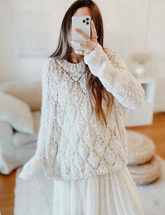 Crochet Pearl Oversized Sweater