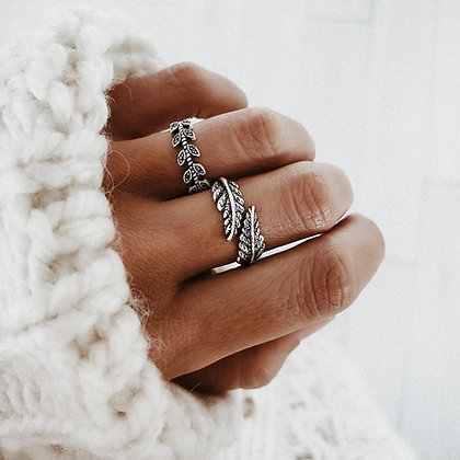 Vintage Feather 925 Silver Ring