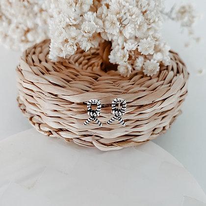 Navy Knot 925 Silver Earrings