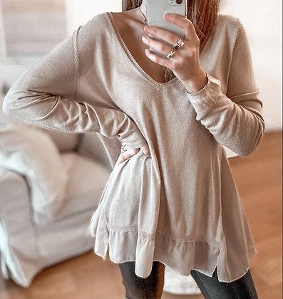 Beige Knit Sweater Dress