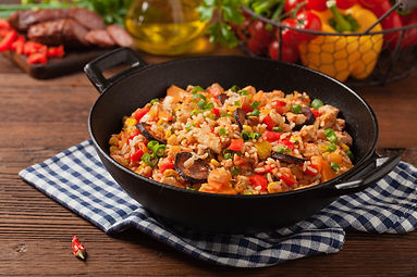Traditional jambalaya perepared in wok,