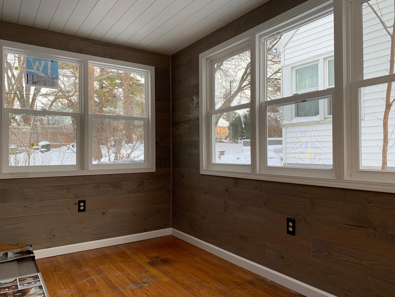 Custom shiplab on walls and celing. 4 season room.