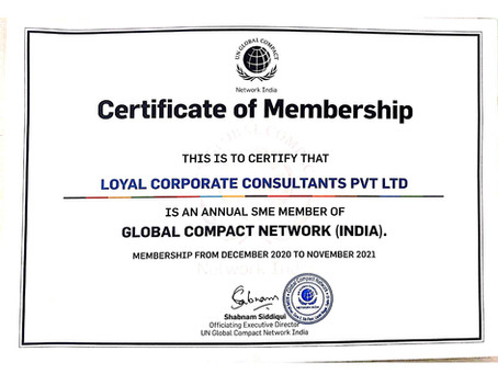 Loyal Corporate Consultants Pvt. Ltd. has become a member of Global Compact Network (India)