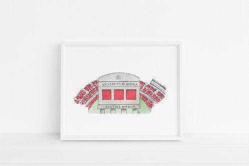 Sanford Stadium Print 8x10
