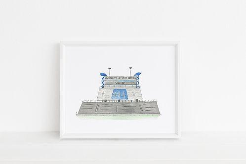 University of West Georgia Stadium Print 8x10