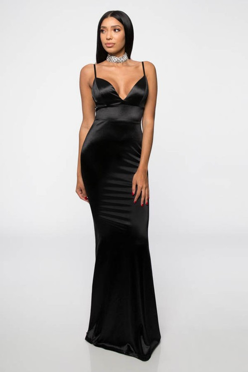 BLACK BACKLESS SATIN GOWN