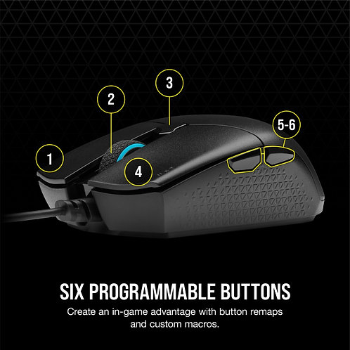Corsair KATAR PRO Ultra-Light Gaming Mouse Wire 12,400 DPI Prog Buttons 6 Select
