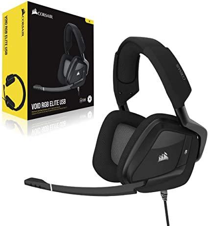 Corsair Void RGB Elite Carbon Wire USB Gaming Headset 7.1 Surround Sound For :PC