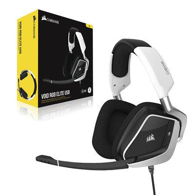 Corsair Void RGB Elite White Wire USB Gaming Headset 7.1 Surround Sound For :PC