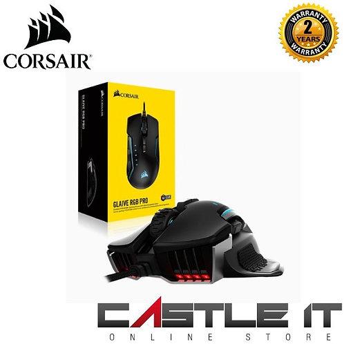 Corsair GLAIVE RGB PRO Wire 18,000 DPI Prog Buttons 7 Selectable  1000Hz/500Hz/2