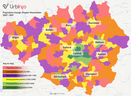 Population growth in Greater Manchester is unequal, finds UrbInfo