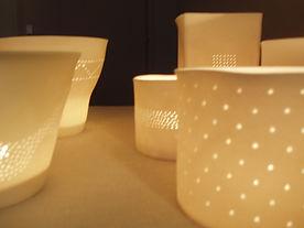 Photophore porcelaine de Limoges - Lumiére douce - bougie - Décoration - design - ambiance douce et chaleureuse - Patrick Sibille -