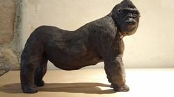 Sculpture Gorille grès noir