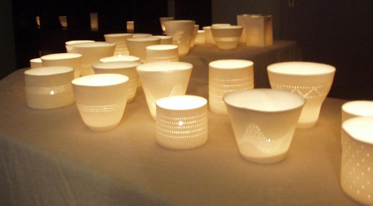 Photophore porcelaine de Limoges - Lumiére douce - Décoration de table - design - ambiance douce et chaleureuse - Patrick Sibille -