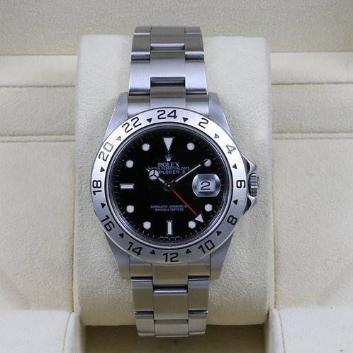 Rolex Explorer II 16570 Black Dial - 3186 No Holes Case - Box & Papers