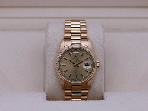 Rolex Day-Date 18238 Yellow Gold Champagne Dial - A Serial - Box & Papers