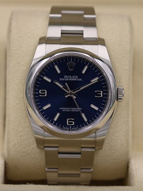 Rolex Oyster Perpetual 116000 Blue Dial 36mm - 2018 Box & Papers