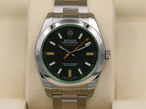 Rolex Milgauss 116400GV Black Dial Green Sapphire Stainless - Box & Papers!