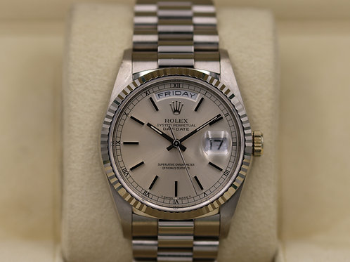 Rolex Day-Date 18239 President 18K White Gold 36mm Silver Dial - Box & Papers