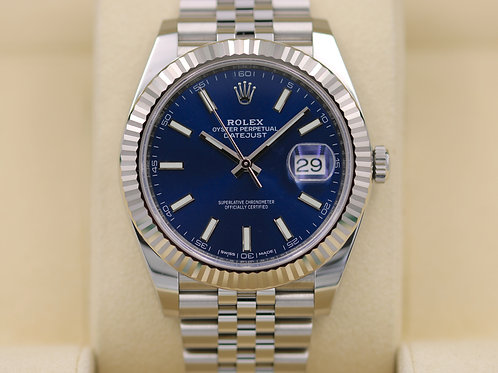 Rolex DateJust 41 126334 Blue Stick Dial 18K Jubilee 41mm - 2017 Box & Papers!