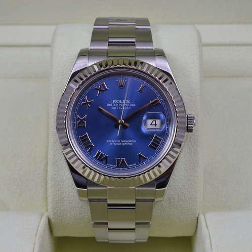 Rolex DateJust II 116334 Blue Roman Dial - Box & Papers