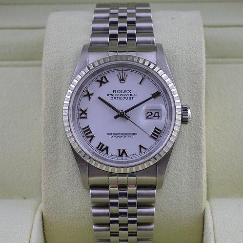 Rolex DateJust 16220 White Roman Dial