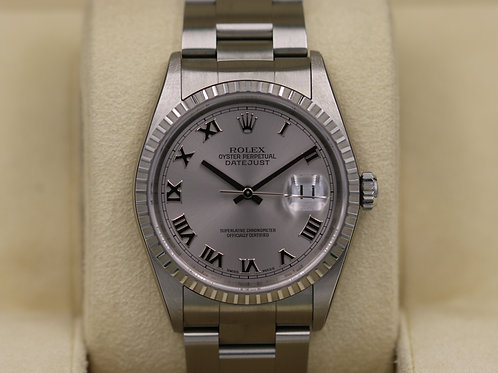 Rolex DateJust 16220 Silver Roman Dial - F Serial No Holes - Box & Papers NOS