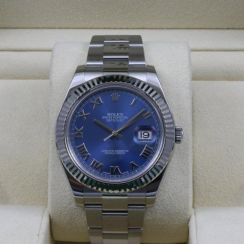 Rolex DateJust II 116334 Blue Roman Dial - 2016 Box & Papers