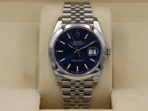 Rolex DateJust 41 126300 Blue Dial Jubilee Smooth Bezel - 2017 Box & Papers