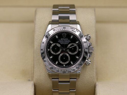 Rolex Daytona 116520 Black Dial Stainless - Z Serial Engraved - Box & Papers