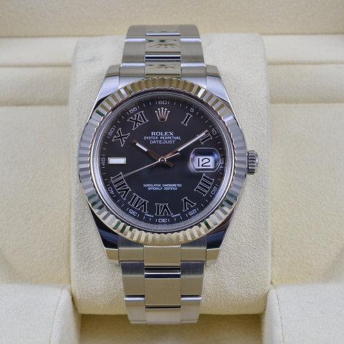 Rolex DateJust II 116334 Black Roman Dial - Box & Papers