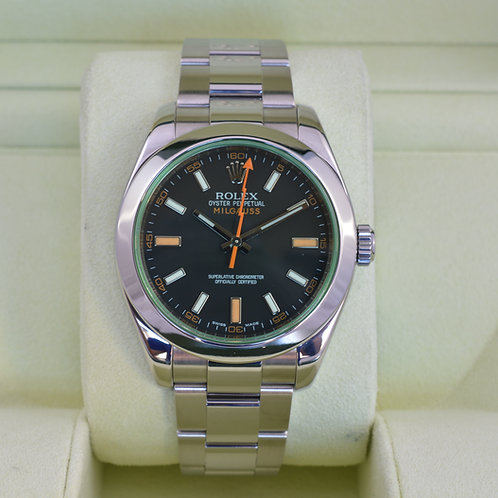 Rolex Milgauss 116400V Black Dial Green Crystal - Box & Papers
