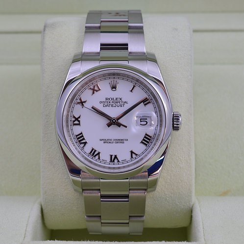 Rolex DateJust 116200 White Roman Dial - Stainless Steel - Box & Papers