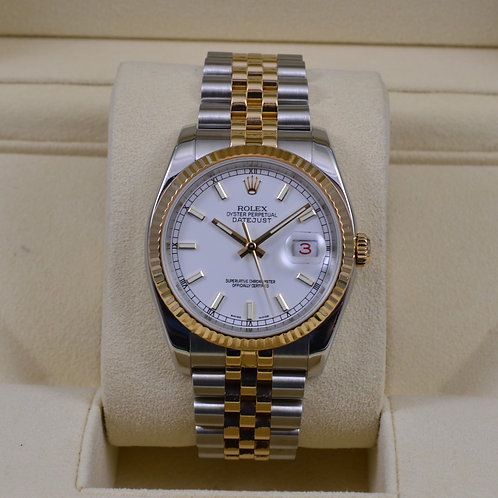 Rolex DateJust 116233 White Dial Two Tone - Box & Papers