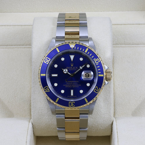 Rolex Submariner 16613 Two-Tone Blue - M Serial Engraved - Box & Papers