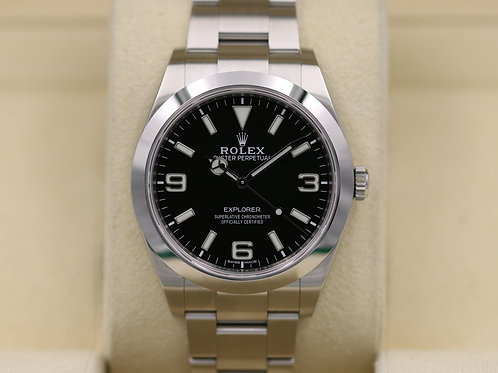 Rolex Explorer I 214270 39mm FULL LUME DIAL Stainless - 2017 Box & Papers!