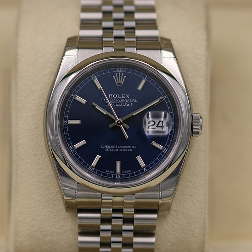 Rolex DateJust 116200 Blue Dial Jubilee 36mm - 2019 Box & Papers