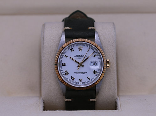 Rolex DateJust 16233 Two Tone White Roman Dial - Box & Papers