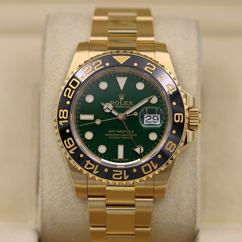 Rolex GMT Master II 116718 Green Dial Yellow Gold - 2019 Unworn