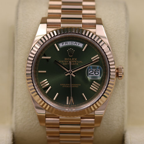 Rolex Day-Date 40 228235 Rose Gold Olive Green Dial - 2017 Box & Papers