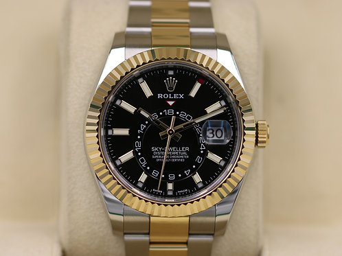 Rolex Sky-Dweller 326933 Two-Tone 18K Yellow Gold Black Dial - 2017 Box & Papers