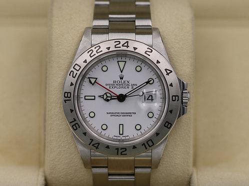 Rolex Explorer II 16570 White Dial Polar - Y Serial No Holes Case - Box & Papers