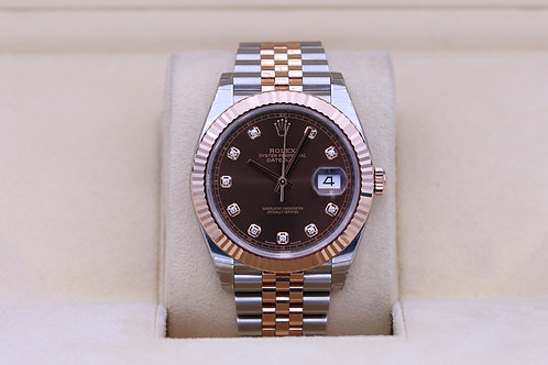 Rolex DateJust 41 126331 Two Tone Chocolate Diamond Dial- Box & Papers